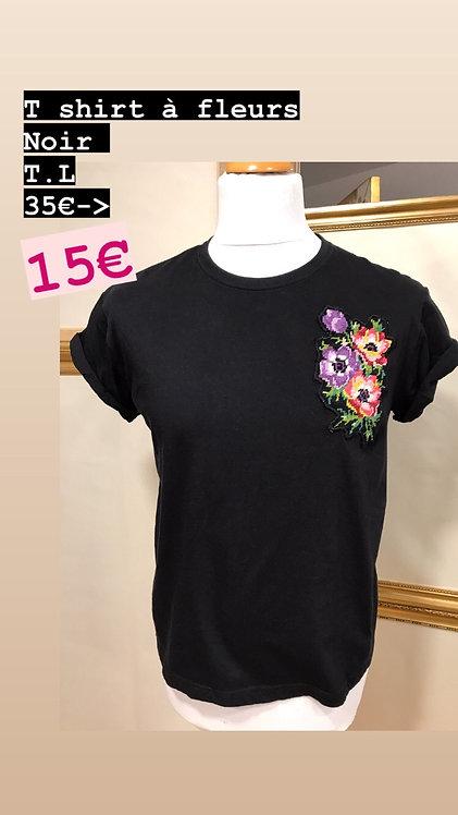 T-Shirt à fleurs noir T.S
