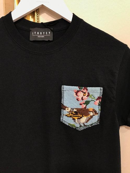T-shirt a poche noir - T. S
