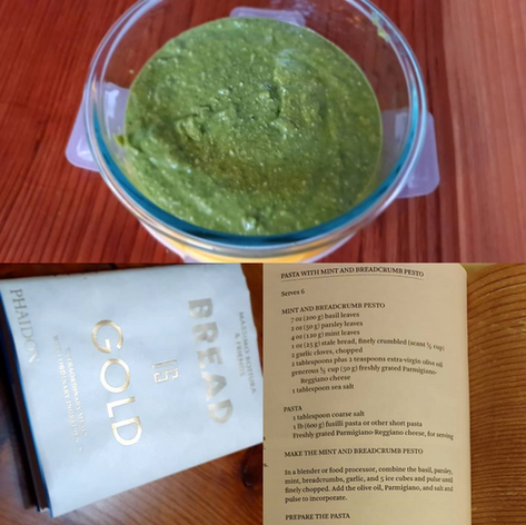 Breadcrumb pesto!!! The cheapest and tastiest pasta I've ever made. Thanks to my hero Massimo Bottura. I bought this book after our visit to Italy last year. I already had great respect for Mr. Bottura but that just skyrocketed after I read this book. Now I watch his daily kitchen quarantine series on Instagram and am inspired everyday by his passion for his cooking and his family.  (una_bonita_cuisine)