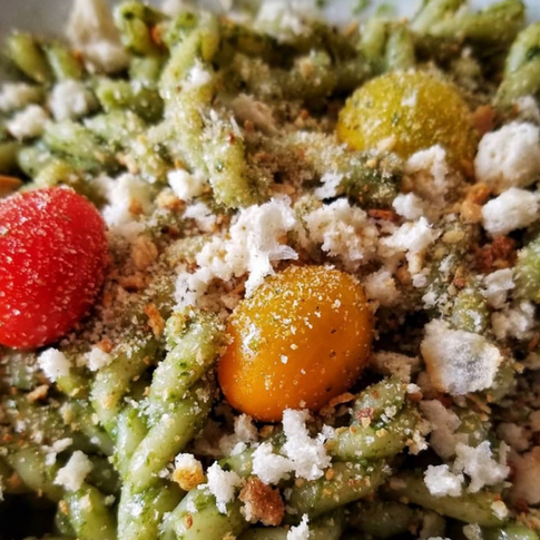 """Sunday lunch: pasta with basil, mint and garden cress pesto with breadcrumbs. Terrific reinterpretation of an Italian classic. Thank you @massimobottura for the recipe, the inspiration and the beautiful meaningful work you're doing with @foodforsoul""""  (jamstefan)"""