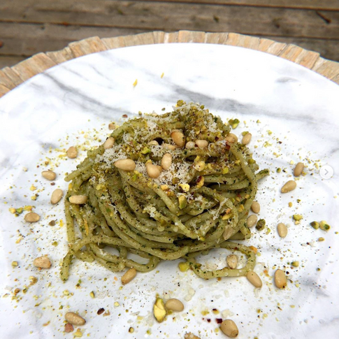 1) Homemade Spaghetti al Pesto con Pistacchio e Pinoli 😋 2) Homemade Spaghetti al Pesto di Pangrattato which is a recipe from @massimobottura . . Those are extremely delicious and easy to make. We all have time during quarantine and this recipe will definitely make your palette travel. . . If you dont have Pistacchio and Pine nuts or one of the two. This recipe is very versatile. Use bread crumbs like @massimobottura and you have a crunch and creamy pesto. This is definitely something that im going to cook again soon. . . Pesto Good amount of Basil leafs Olive oil Good amount of Parmigiano reggiano Salt Pepper Lemon Juice Lemon Zest Garlic (optional)  Pistacchio e Pinoli Smash Pistacchio Toasted Pine Nuts  Pangrattato Toasted bread crumbs  (guillaumeiscooking)