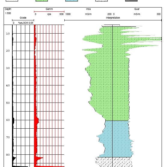 Typical downhole gamma log