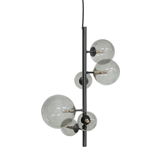 DOME DECO die Hängeleuchte Pendant Metal Black & Smoke Glass LED