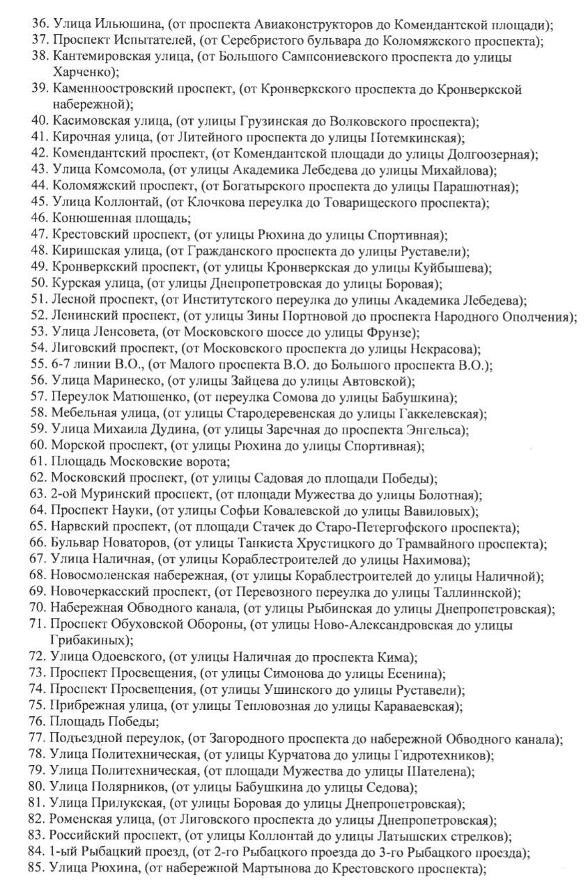 Продолжение списка запретных улиц
