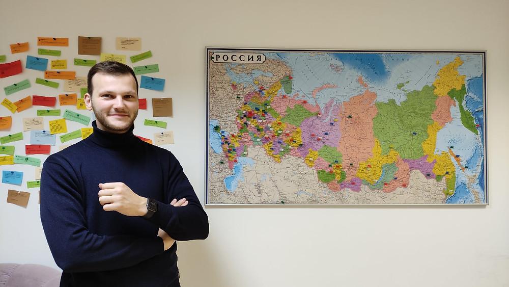 На карте флажками обозначены города, куда Павел Подгорный поставляет продукцию