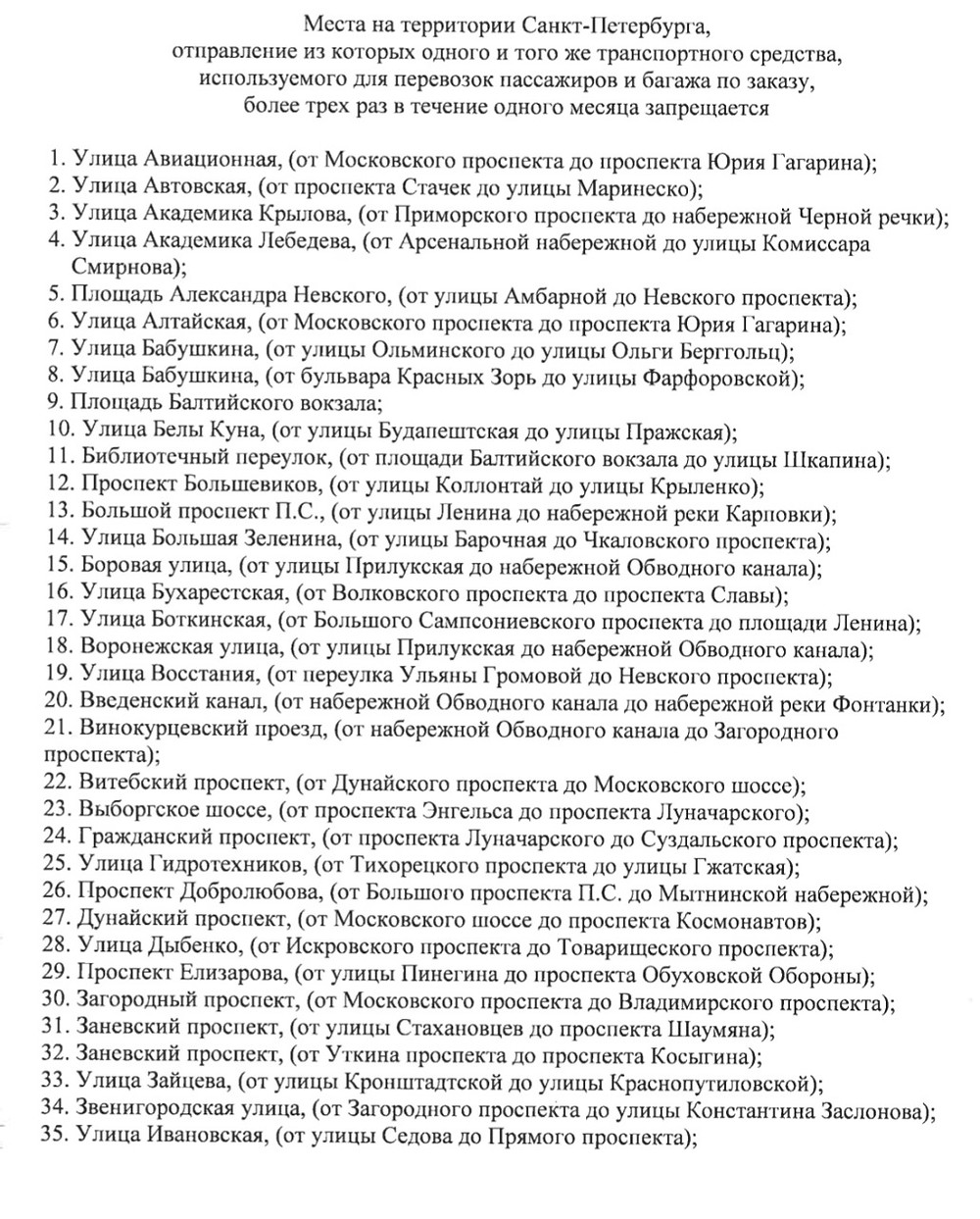 Список запретных для остановок улиц