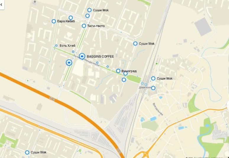Карта кафе Западного Мурино по данным геоинформационной системы 2 ГИС