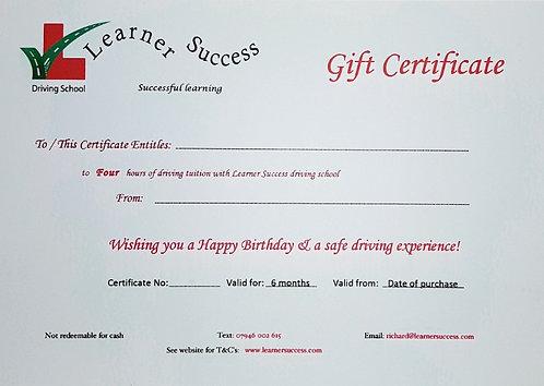 4 hour Birthday Gift