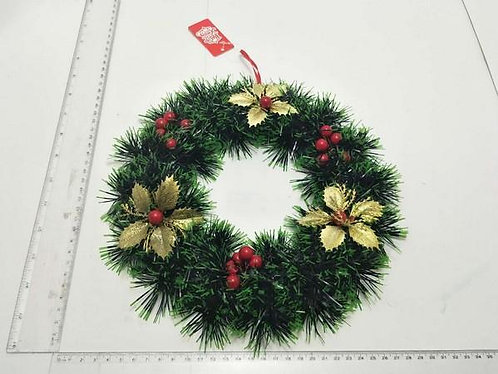 xmas wreath gold flower w berry 24cm