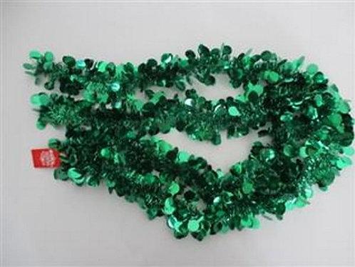 xmas garland tinsel green dots 2.7m