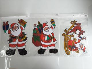 xmas window gel sticker santa 32*45cm  3ast