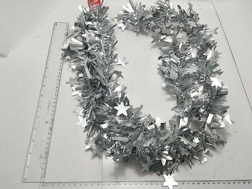 xmas  tinsel matt  star silver  2m