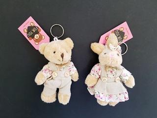 keyring soft toy bear n rabbit 11cm