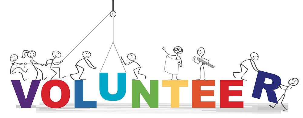 """Word """"Volunteer"""" with illustration of people working together"""