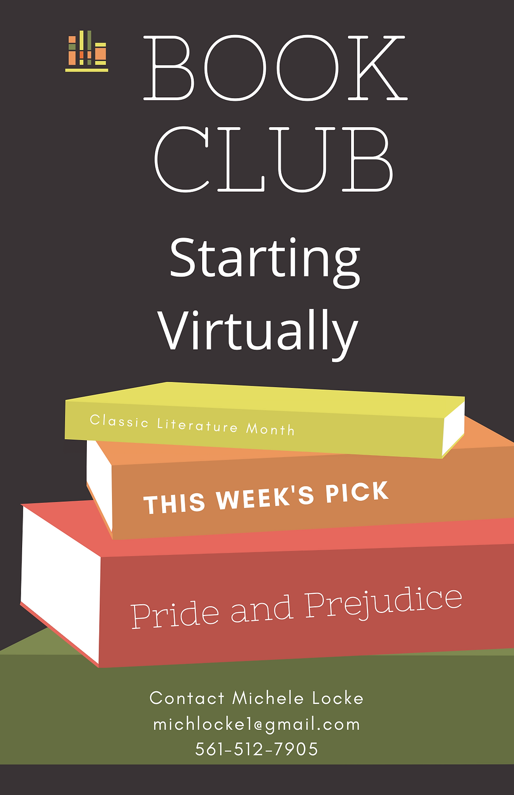 Book Club flyer showing a stack of books