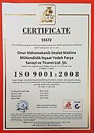 ISO 9001 Kalite Belgesi, Quality Certificate