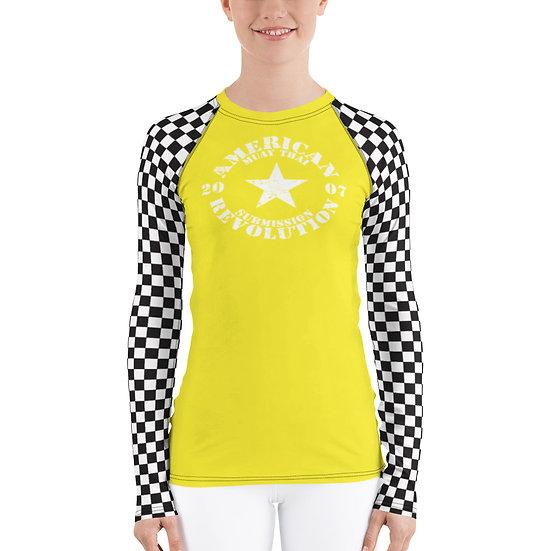 Women's Yellow Checker American Revolution Rash Guard