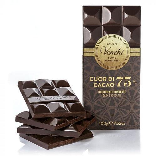 Venchi - Tavoletta Di Cioccolato Fondente 75% Cuor Di Cacao 100g