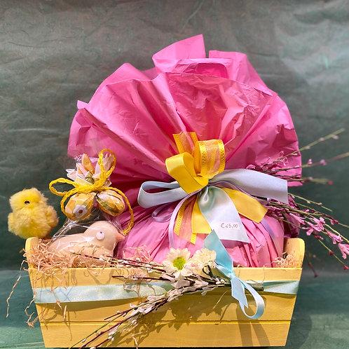Cassetta pasquale con colomba Albertengo, pulcino di cioccolato e ovetti