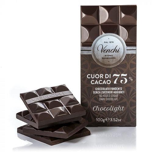 Venchi - Tavoletta di cioccolato fondente 75% senza zuccheri aggiunti 100g