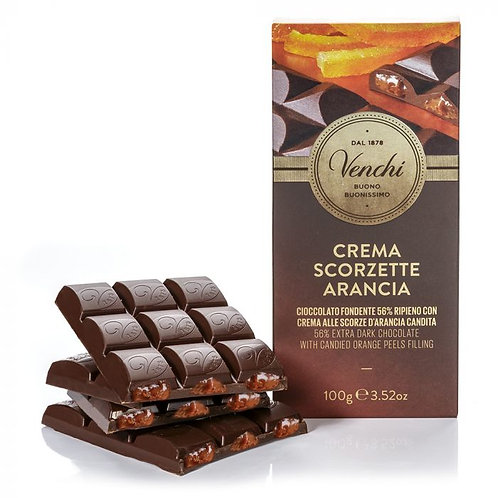 Venchi - Tavoletta di cioccolato fondente 56% ripiena all'arancia 100g