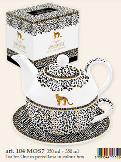 Tea for one (tazza con teiera e piattino) Leopard