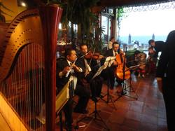 Arpa, flauta, violín y violonchelo