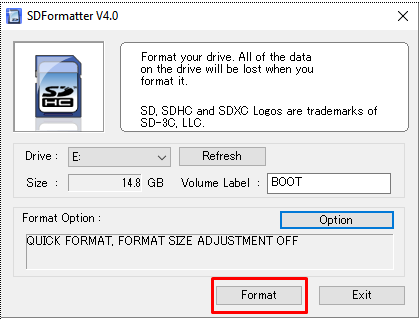 Raspberry PI NAS - Format SD Card