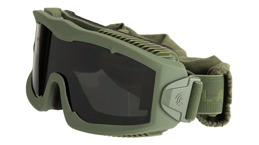 Lancer Tactical AERO Protective Green Goggles (SMOKE/YELLOW/CLEAR LENS)