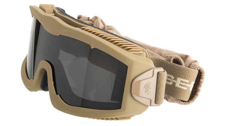 Lancer Tactical AERO Protective Tan Goggles (SMOKE/YELLOW/CLEAR LENS)