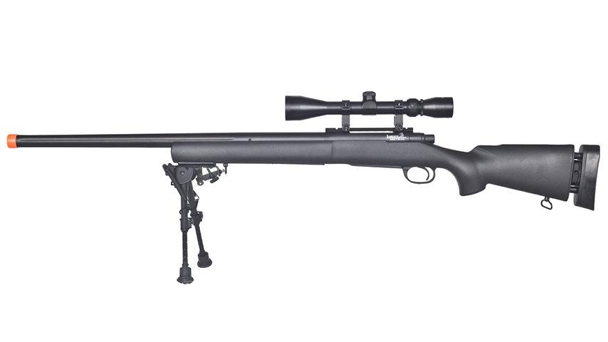 Lancer Tactical Airsoft M24 Bolt Action Sniper Rifle w/ Bipod & Scope (BLACK)