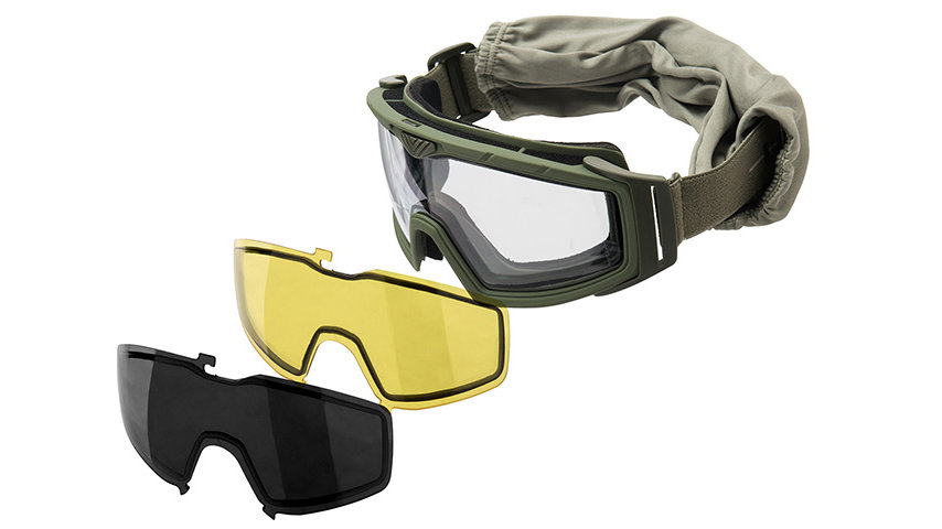 Lancer Tactical Rage Protective Green Airsoft Goggles (SMOKE/YELLOW/CLEAR LENS)