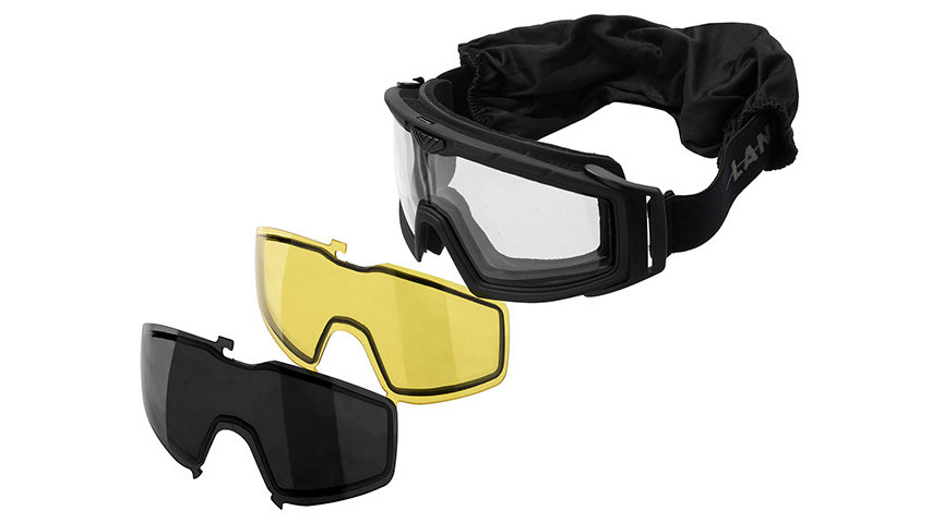 Lancer Tactical Rage Protective Black Airsoft Goggles (SMOKE/YELLOW/CLEAR LENS)