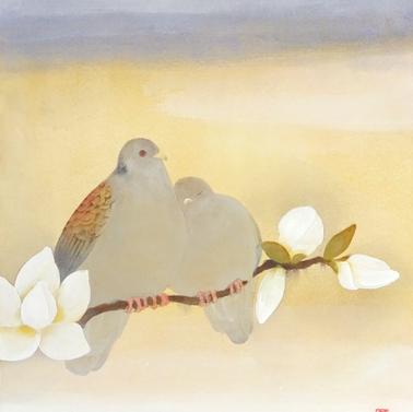 山鳩とコブシ