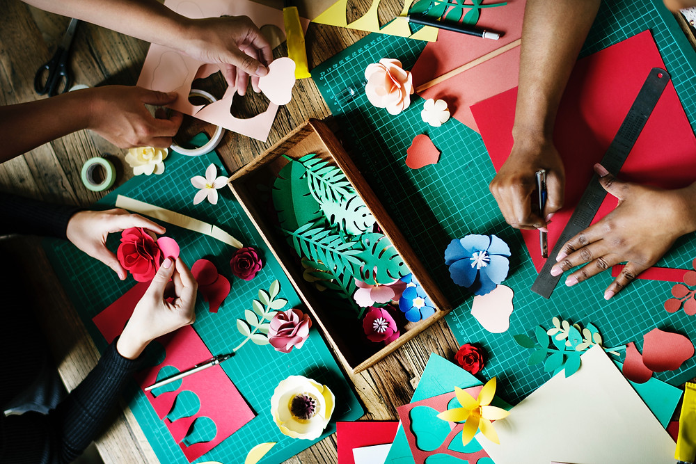 People doing a craft activity