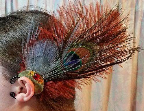 Feather Ear Cuff, Peacock, Rust & Green