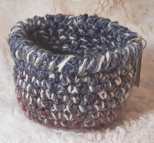 Small Storage Basket, Bulky Yarn, Gray, Cream, Purple, Raspberry