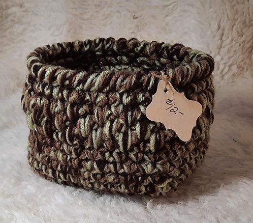 Rectangular Storage Basket, Stitched Detail, Dark Brown, Tan, Sage Green