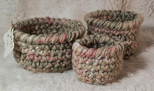 Set of 3 Small Nesting Baskets, Pink, Sage Green, Cream