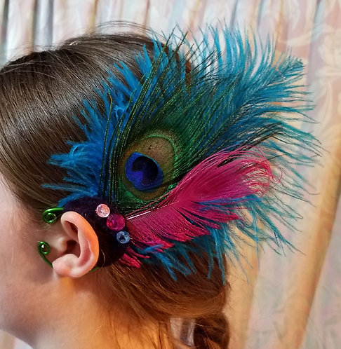 Feather Ear Cuff, Peacock, Turquoise & Pink