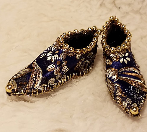 Navy Blue Brocade Fairy Shoes