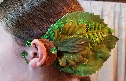 Leaf Ear Cuff, Green & Gold