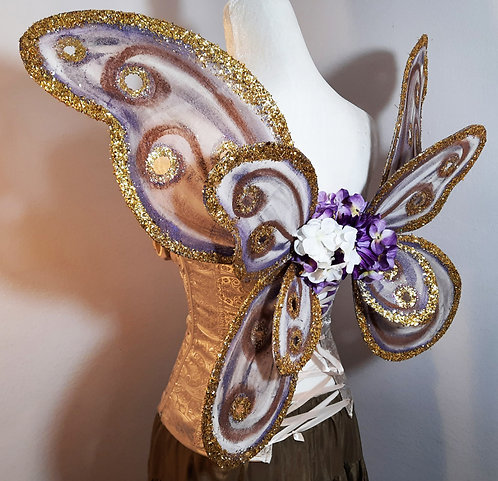 Bodice Fairy Wings, Double, Purple & Gold