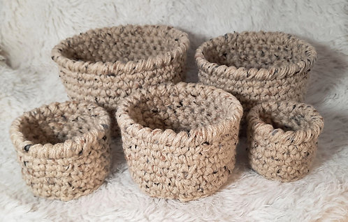 5 PC Storage Basket, Tan & Brown Specks