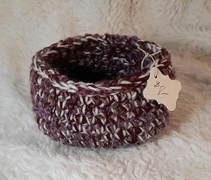 Bulky Yarn Storage Basket, Cream, Burgundy,  Eggplant
