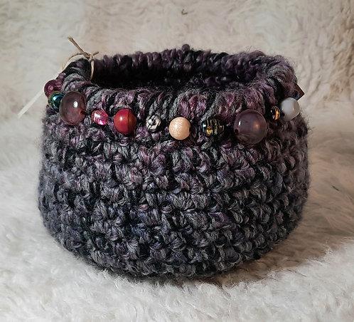 Beaded Soft Storage Basket, Black, Gray Variegated Lavendar
