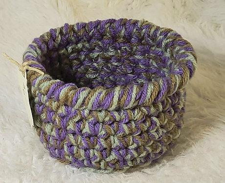 Small Storage Basket, Aqua, Lavender, Brown