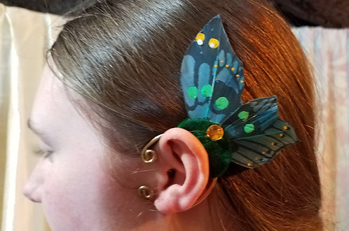 Wood Sprite Butterfly Ear Cuff Pair, Spruce Green or Purple
