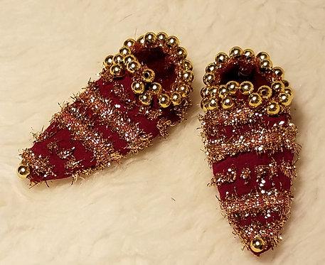 Burgundy Chiffon & Metallic Fairy Shoes