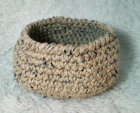 Storage Basket Aqua, Tan & Brown Specks